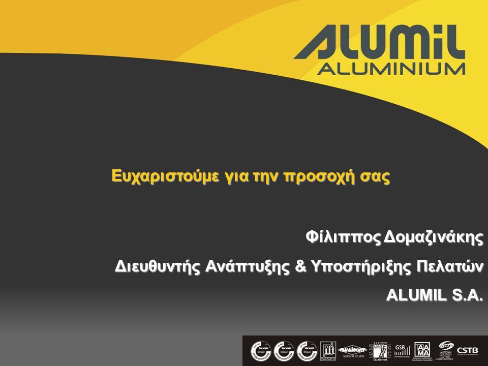Ευχαριστούμε για την προσοχή σας Φίλιππος Δομαζινάκης Διευθυντής Ανάπτυξης & Υποστήριξης Πελατών ALUMIL S.A.