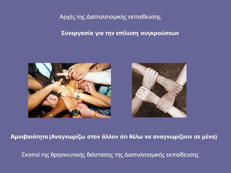 Σκοποί της θρησκευτικής διάστασης της Διαπολιτισμικής εκπαίδευσης Συνεργασία για την επίλυση συγκρούσεων Αμοιβαιότητα (Αναγνωρίζω στον άλλον ότι θέλω
