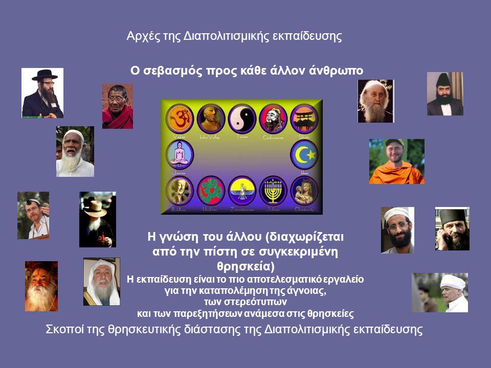 Σκοποί της θρησκευτικής διάστασης της Διαπολιτισμικής εκπαίδευσης Ο σεβασμός προς κάθε άλλον άνθρωπο Η γνώση του άλλου (διαχωρίζεται από την πίστη σε