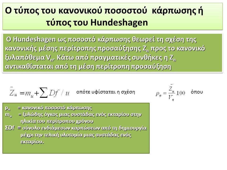 Χρησιμοποιώντας κανείς το κανονικό ποσοστό κάρπωσης (ανάλογα με το δασοπονικό είδος και τον περίτροπο χρόνο κυμαίνεται μεταξύ 2,5% και 4,5%) για τον υπολογισμό του λήμματος (H i ), επί του πραγματικού ξυλαποθέματος (V w ), ισχύει: και αντικαθιστώντας το p n με το ίσον του η σχέση γίνεται