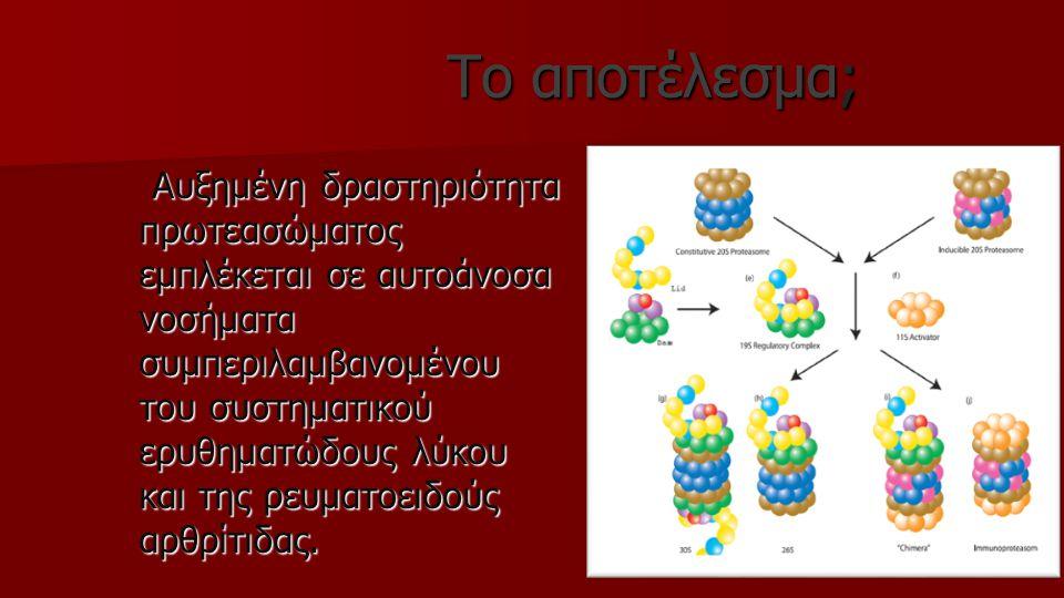 Το αποτέλεσμα; Το αποτέλεσμα; Αυξημένη δραστηριότητα πρωτεασώματος εμπλέκεται σε αυτοάνοσα νοσήματα συμπεριλαμβανομένου του συστηματικού ερυθηματώδους