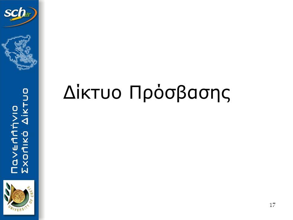 18 Αντικείμενο Εξοπλισμός εγκατεστημένος στις μονάδες Ενεργός Εξοπλισμός Πρόσβασης Παθητικός εξοπλισμός (hub, δομημένη καλωδίωση) Βασικά χαρακτηριστικά Διάφανη ως προς τον χρήστη πρόσβαση στο δίκτυο (Dial On Demand / Μόνιμη σύνδεση) Απομακρυσμένη διαχείριση εξοπλισμού πρόσβασης Ασφάλεια (ΝΑΤ / Access Lists ) Δυνατότητα παροχής υπηρεσιών στον σχολικό server (Static NAT) Υποστήριξη interesting traffic Δίκτυο Διανομής