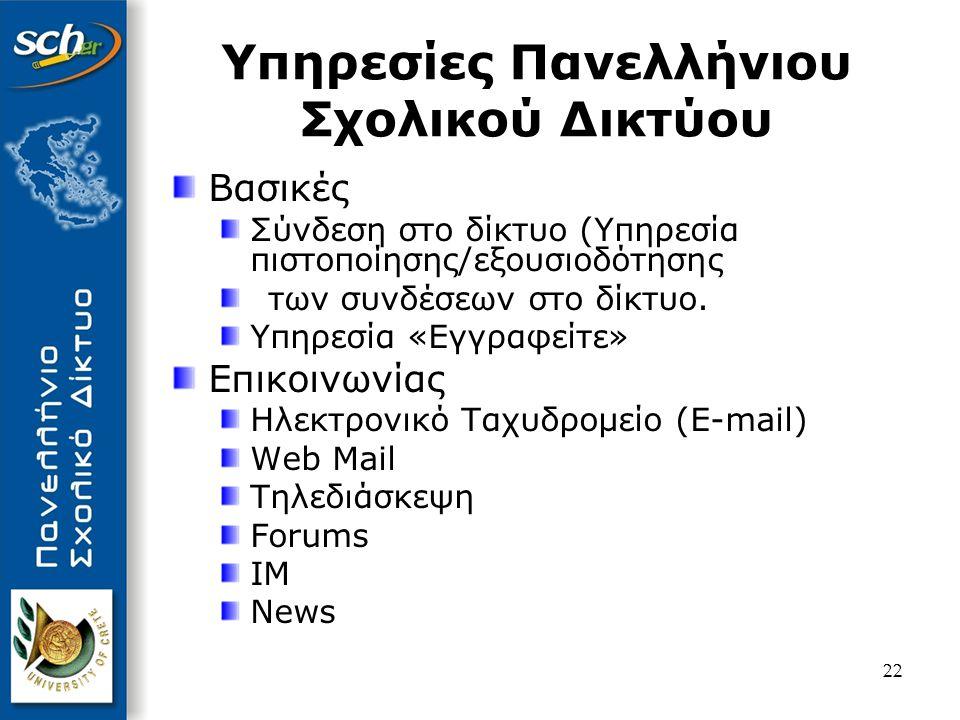 23 Φιλοξενία ιστοσελίδων (Web-hosting) Προηγμένες Υπηρεσίες Video on Demand Ασύγχρονη τηλεκπαίδευση Κεντρικές υπηρεσίες Portal (με υψηλή αναγνωσιμότητα και επισκεψιμότητα) Proxy/Content Filtering (έλεγχος περιεχομένου) DNS LDAP Online στατιστικά Υπηρεσίες Πανελλήνιου Σχολικού Δικτύου