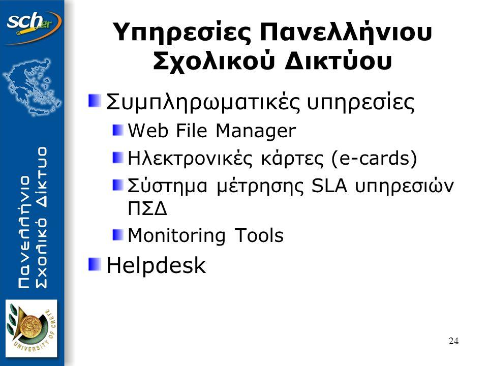 25 Βασικές Υπηρεσίες (Σύνδεση στο δίκτυο, Ελεγχόμενη πρόσβαση στο web, Δικτυακή πύλη, Απλή διαδικασία εγγραφής εκπαιδευτικών) Υπηρεσίες Επικοινωνίας (Ηλεκτρονικό ταχυδρομείο με εξελιγμένη προστασία από ιούς και spam, Ηλεκτρονικές λίστες επικοινωνίας, Χώροι συζήτησης, Instant Messaging, Τηλεδιάσκεψη, Νέα) Φιλοξενία Ιστοσελίδων (Φιλοξενία ιστοσελίδων για σχολεία και εκπαιδευτικούς, Οδηγοί αυτόματης δημιουργίας ιστοσελίδων, Δυναμικές ιστοσελίδες php - δυναμικές ιστοσελίδες και βάση δεδομένων) Προηγμένες Υπηρεσίες (Βίντεο κατ' απαίτηση, Ζωντανές μεταδόσεις εκδηλώσεων, Ασύγχρονη τηλεκπαίδευση) Συμπληρωματικές Υπηρεσίες (Ηλεκτρονικές κάρτες, Ηλεκτρονικό περιοδικό, Ημερολόγιο, Βιβλίο διευθύνσεων, Λίστα εργασιών, Σημειώσεις, Virtual drives) Κεντρικές Υπηρεσίες (Υπηρεσία ονοματολογίας (DNS), Υπηρεσία καταλόγου (LDAP), Κατανεμημένο helpdesk, Online στατιστικά, Σύστημα GIS σχολείων) Υπηρεσίες Διαχείρισης (Διαχείριση χρηστών, Τεκμηρίωση διαχειριστών δικτύου, Παρακολούθηση λειτουργίας δικτύου, Ασφάλεια δικτύου (CERT), Απομακρυσμένη διαχείριση σχολικών δρομολογητών) Παρεχόμενες Υπηρεσίες