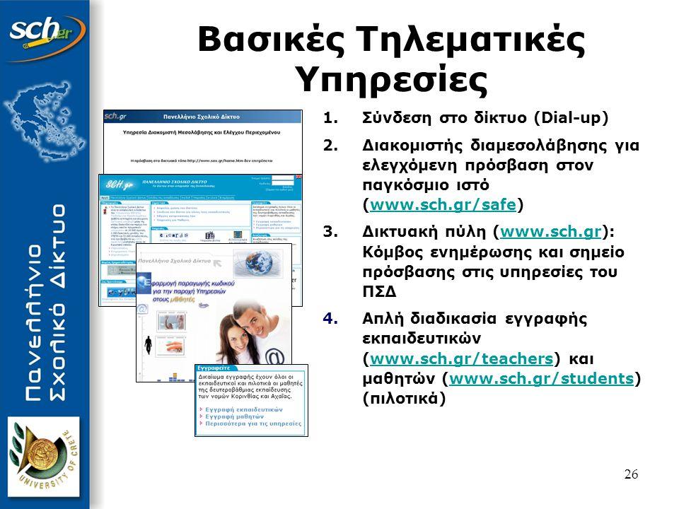 27 Υπηρεσίες Επικοινωνίας 5.Ηλεκτρονικό ταχυδρομείο (www.sch.gr/mail) με εξελιγμένη προστασία από: - ιούς (www.sch.gr/virus) και - spam (www.sch.gr/spam)www.sch.gr/mailwww.sch.gr/viruswww.sch.gr/spam 6.Ηλεκτρονικές λίστες επικοινωνίας (www.sch.gr/lists)www.sch.gr/lists 7.Χώροι συζήτησης (www.sch.gr/forums)www.sch.gr/forums 8.Instant Messaging (www.sch.gr/im)www.sch.gr/im 9.Τηλεδιάσκεψη (www.sch.gr/conf)www.sch.gr/conf 10.Νέα (www.sch.gr/news)www.sch.gr/news
