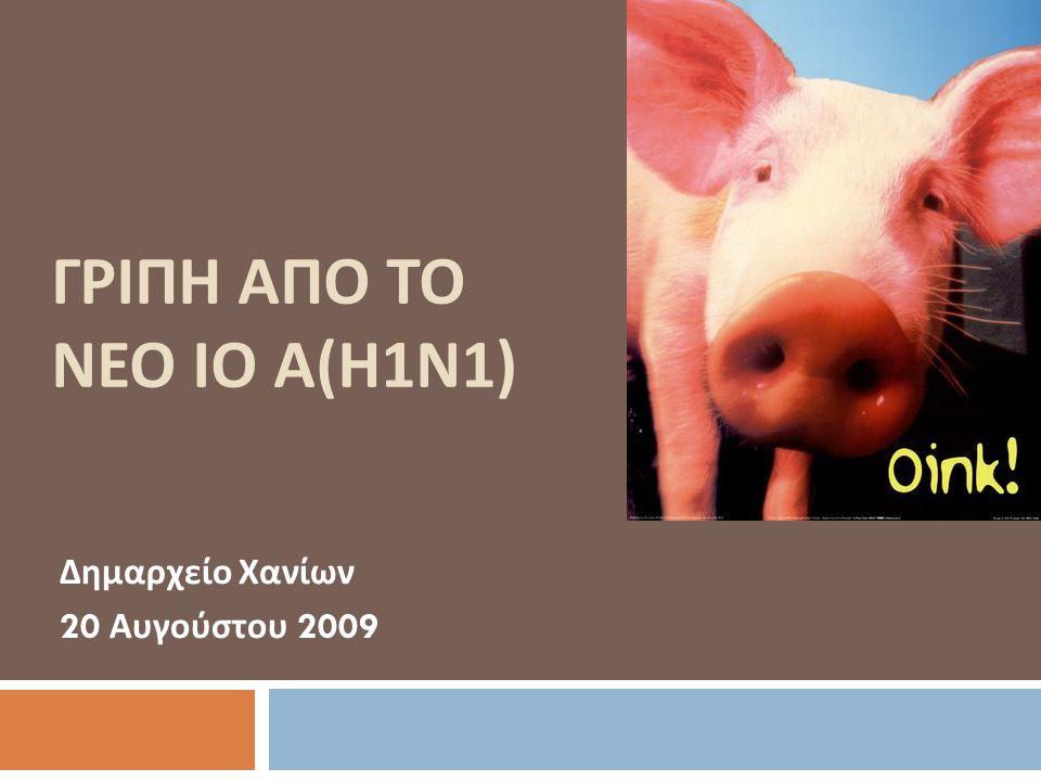 ΓΡΙΠΗ ΑΠΟ TO ΝΕΟ ΙΟ Α ( Η 1 Ν 1) Δημαρχείο Χανίων 20 Αυγούστου 2009