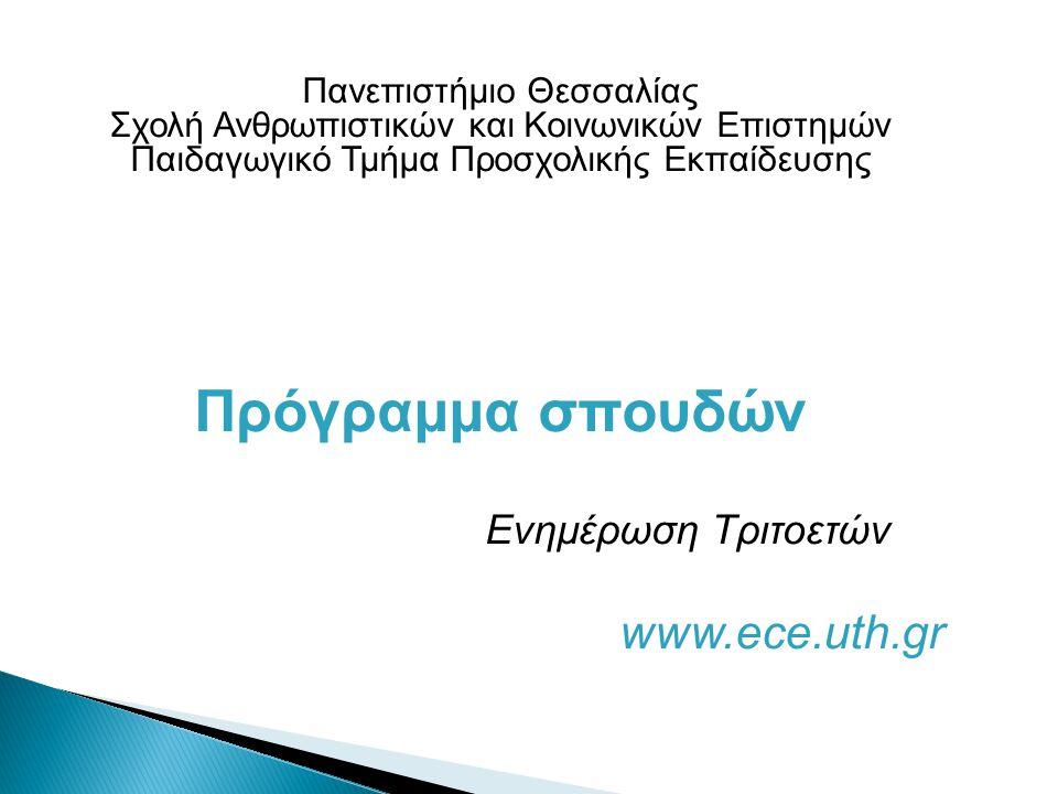 Πανεπιστήμιο Θεσσαλίας Σχολή Ανθρωπιστικών και Κοινωνικών Επιστημών Παιδαγωγικό Τμήμα Προσχολικής Εκπαίδευσης Πρόγραμμα σπουδών Ενημέρωση Τριτοετών www.ece.uth.gr