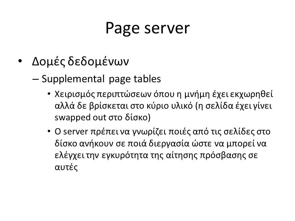 Page server Δομές δεδομένων – Supplemental page tables Χειρισμός περιπτώσεων όπου η μνήμη έχει εκχωρηθεί αλλά δε βρίσκεται στο κύριο υλικό (η σελίδα έχει γίνει swapped out στο δίσκο) Ο server πρέπει να γνωρίζει ποιές από τις σελίδες στο δίσκο ανήκουν σε ποιά διεργασία ώστε να μπορεί να ελέγχει την εγκυρότητα της αίτησης πρόσβασης σε αυτές