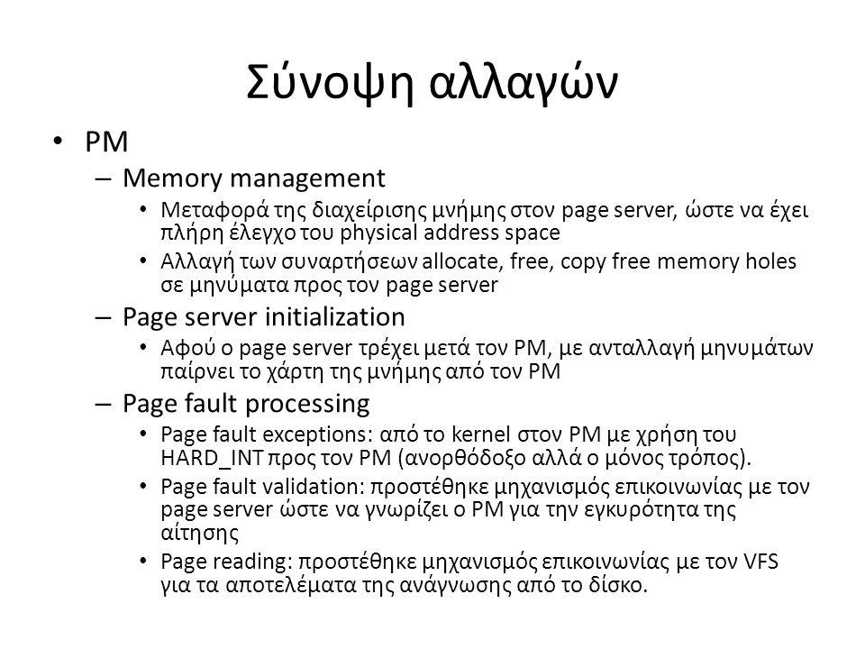 Σύνοψη αλλαγών PM – Memory management Μεταφορά της διαχείρισης μνήμης στον page server, ώστε να έχει πλήρη έλεγχο του physical address space Αλλαγή των συναρτήσεων allocate, free, copy free memory holes σε μηνύματα προς τον page server – Page server initialization Αφού ο page server τρέχει μετά τον PM, με ανταλλαγή μηνυμάτων παίρνει το χάρτη της μνήμης από τον PM – Page fault processing Page fault exceptions: από το kernel στον PM με χρήση του HARD_INT προς τον PM (ανορθόδοξο αλλά ο μόνος τρόπος).