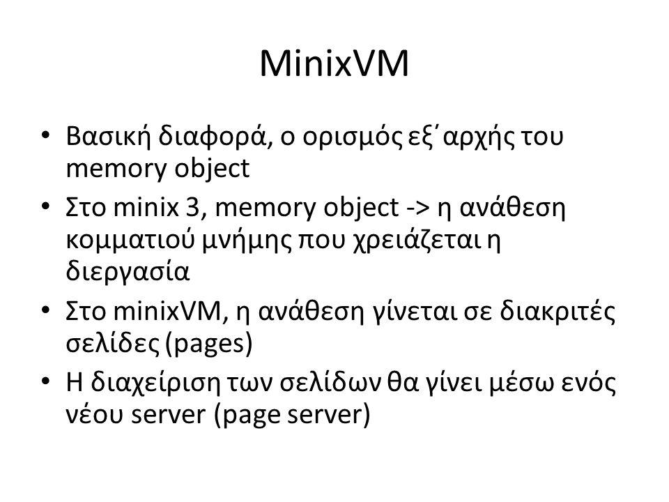 MinixVM Βασική διαφορά, ο ορισμός εξ΄αρχής του memory object Στο minix 3, memory object -> η ανάθεση κομματιού μνήμης που χρειάζεται η διεργασία Στο minixVM, η ανάθεση γίνεται σε διακριτές σελίδες (pages) Η διαχείριση των σελίδων θα γίνει μέσω ενός νέου server (page server)