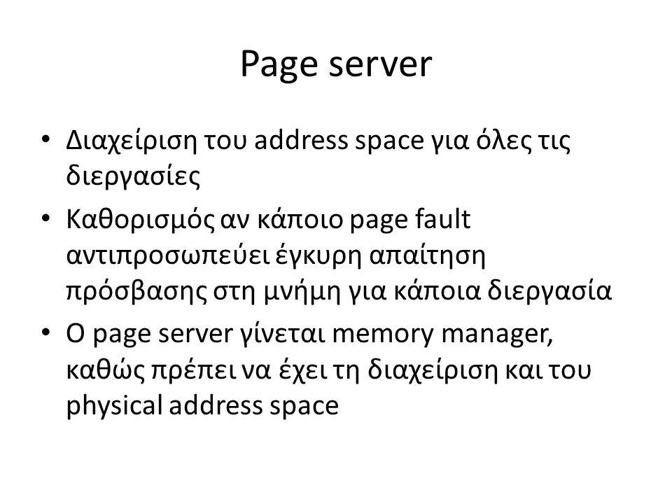 Page server Διαχείριση του address space για όλες τις διεργασίες Καθορισμός αν κάποιο page fault αντιπροσωπεύει έγκυρη απαίτηση πρόσβασης στη μνήμη για κάποια διεργασία Ο page server γίνεται memory manager, καθώς πρέπει να έχει τη διαχείριση και του physical address space