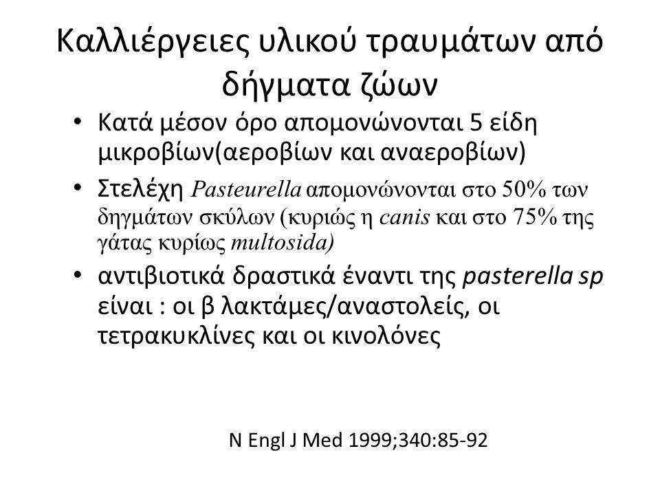 Καλλιέργειες υλικού τραυμάτων από δήγματα ζώων Κατά μέσον όρο απομονώνονται 5 είδη μικροβίων(αεροβίων και αναεροβίων) Στελέχη Pasteurella απομονώνοντα