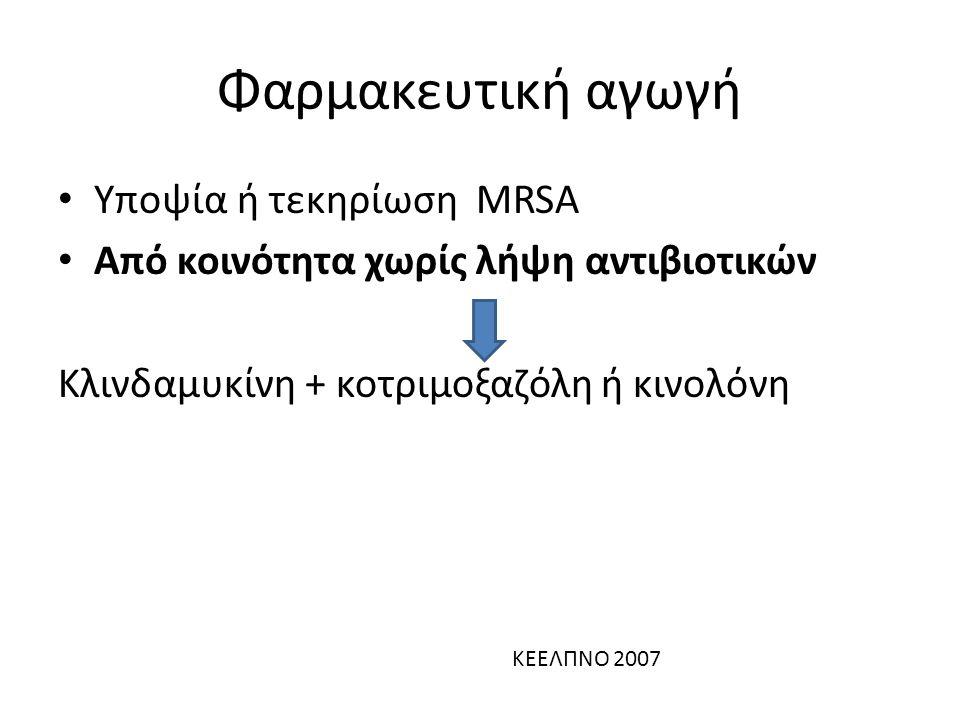 Υποψία ή τεκηρίωση MRSA Από κοινότητα χωρίς λήψη αντιβιοτικών Κλινδαμυκίνη + κοτριμοξαζόλη ή κινολόνη Φαρμακευτική αγωγή ΚΕΕΛΠΝΟ 2007