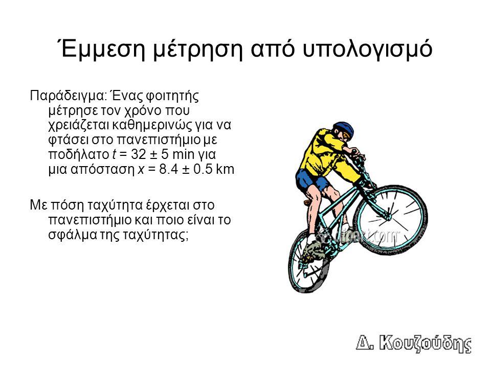 Έμμεση μέτρηση από υπολογισμό Παράδειγμα: Ένας φοιτητής μέτρησε τον χρόνο που χρειάζεται καθημερινώς για να φτάσει στο πανεπιστήμιο με ποδήλατο t = 32