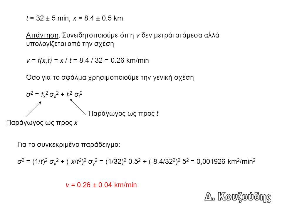 t = 32 ± 5 min, x = 8.4 ± 0.5 km Απάντηση: Συνειδητοποιούμε ότι η v δεν μετράται άμεσα αλλά υπολογίζεται από την σχέση v = f(x,t) = x / t = 8.4 / 32 =