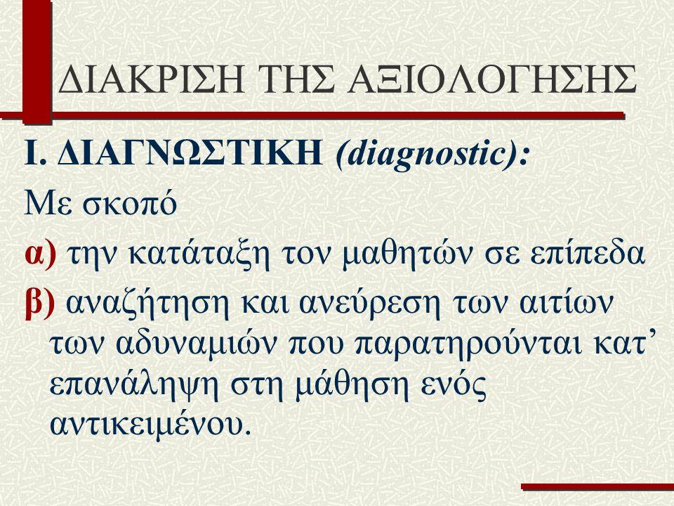 ΔΙΑΚΡΙΣΗ ΤΗΣ ΑΞΙΟΛΟΓΗΣΗΣ I. ΔΙΑΓΝΩΣΤΙΚΗ (diagnοstic): Με σκοπό α) την κατάταξη τον μαθητών σε επίπεδα β) αναζήτηση και ανεύρεση των αιτίων των αδυναμι