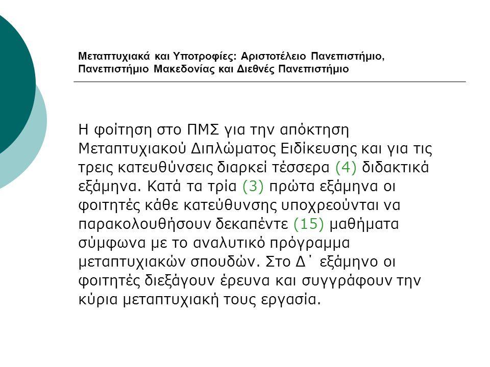 Μεταπτυχιακά και Υποτροφίες: Αριστοτέλειο Πανεπιστήμιο, Πανεπιστήμιο Μακεδονίας και Διεθνές Πανεπιστήμιο Η φοίτηση στο ΠΜΣ για την απόκτηση Μεταπτυχια