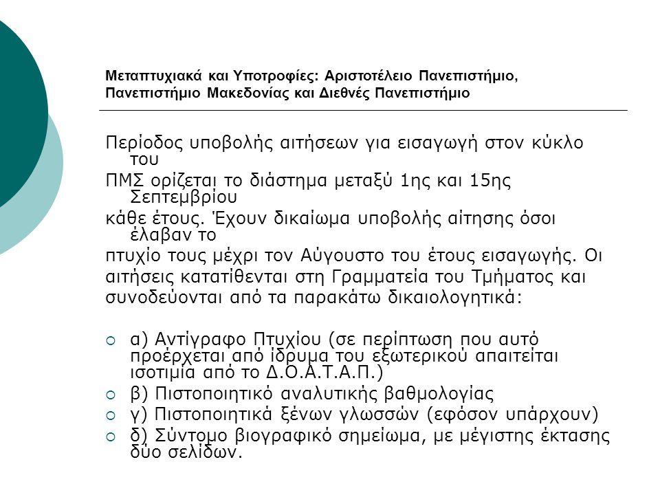 Μεταπτυχιακά και Υποτροφίες: Αριστοτέλειο Πανεπιστήμιο, Πανεπιστήμιο Μακεδονίας και Διεθνές Πανεπιστήμιο Περίοδος υποβολής αιτήσεων για εισαγωγή στον