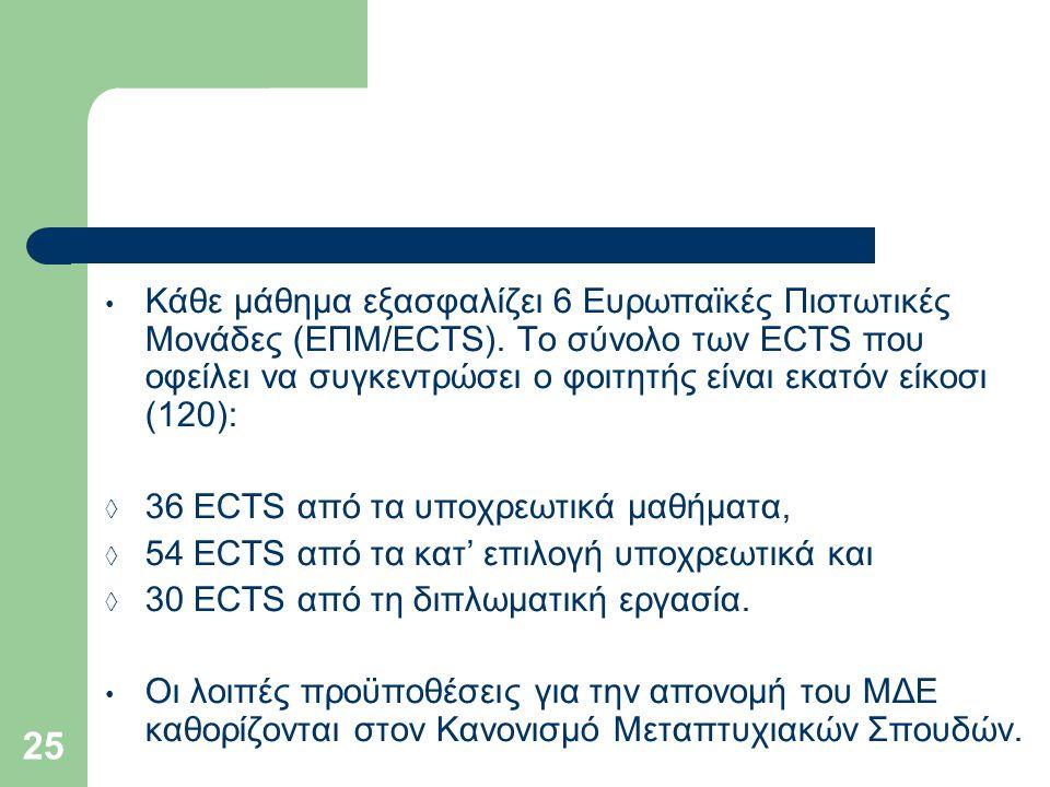25 Κάθε μάθημα εξασφαλίζει 6 Ευρωπαϊκές Πιστωτικές Μονάδες (ΕΠΜ/ECTS). Το σύνολο των ECTS που οφείλει να συγκεντρώσει ο φοιτητής είναι εκατόν είκοσι (