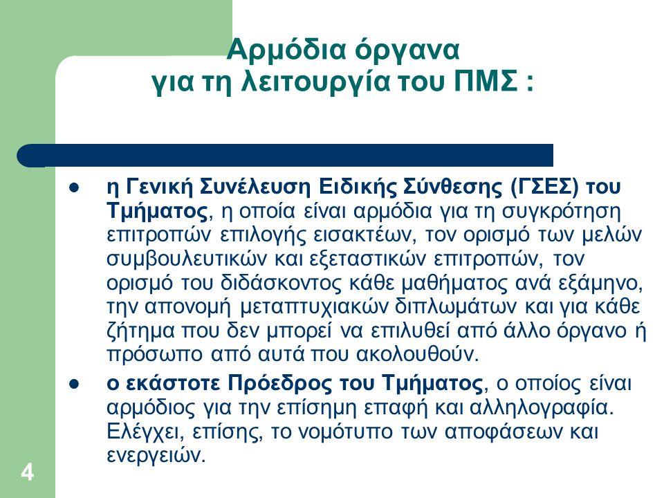 4 Αρμόδια όργανα για τη λειτουργία του ΠΜΣ : η Γενική Συνέλευση Ειδικής Σύνθεσης (ΓΣΕΣ) του Τμήματος, η οποία είναι αρμόδια για τη συγκρότηση επιτροπώ