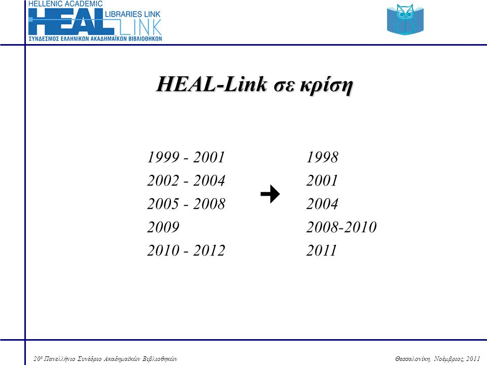Θεσσαλονίκη, Νοέμβριος, 201120 ο Πανελλήνιο Συνέδριο Ακαδημαϊκών Βιβλιοθηκών Τίτλοι περιοδικών που περιλαμβάνονται στο portal του HEAL-Link