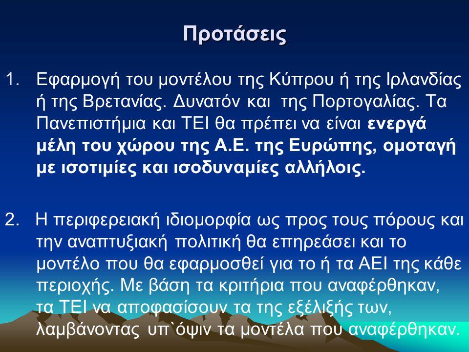 Προτάσεις 1.Εφαρμογή του μοντέλου της Κύπρου ή της Ιρλανδίας ή της Βρετανίας.