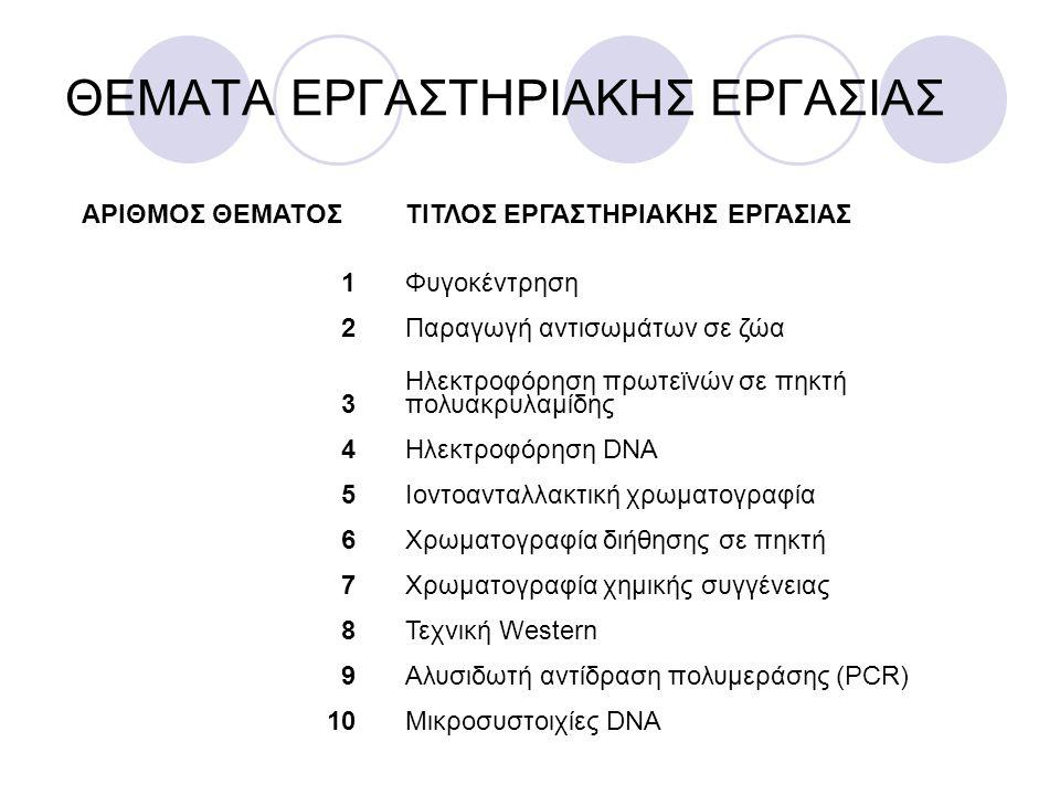 ΘΕΜΑΤΑ ΕΡΓΑΣΤΗΡΙΑΚΗΣ ΕΡΓΑΣΙΑΣ ΑΡΙΘΜΟΣ ΘΕΜΑΤΟΣΤΙΤΛΟΣ ΕΡΓΑΣΤΗΡΙΑΚΗΣ ΕΡΓΑΣΙΑΣ 1Φυγοκέντρηση 2Παραγωγή αντισωμάτων σε ζώα 3 Ηλεκτροφόρηση πρωτεϊνών σε πηκ
