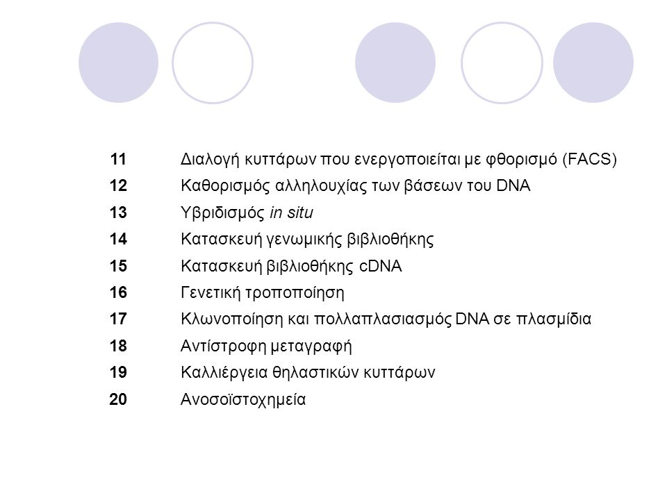 11Διαλογή κυττάρων που ενεργοποιείται με φθορισμό (FACS) 12Kαθορισμός αλληλουχίας των βάσεων του DNA 13Υβριδισμός in situ 14Κατασκευή γενωμικής βιβλιο