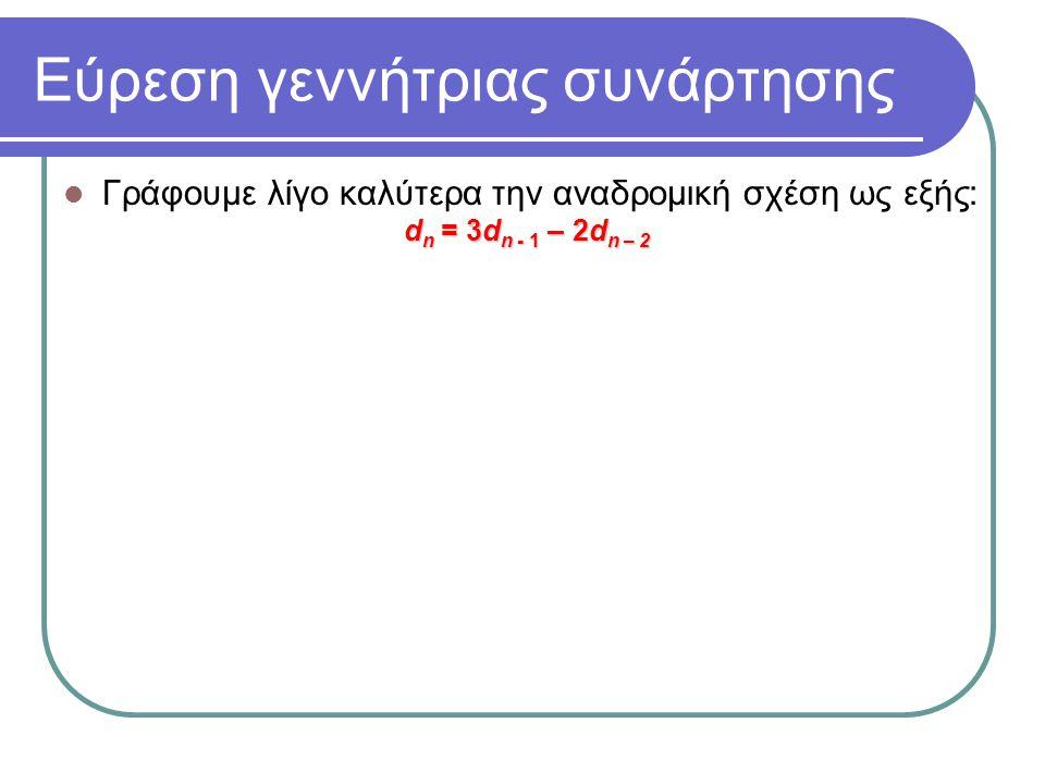 Εύρεση γεννήτριας συνάρτησης Γράφουμε λίγο καλύτερα την αναδρομική σχέση ως εξής: d n = 3d n - 1 – 2d n – 2