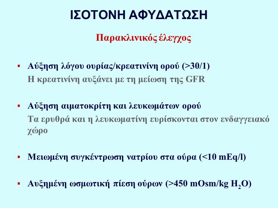 ΙΣΟΤΟΝΗ ΑΦΥΔΑΤΩΣΗ Παρακλινικός έλεγχος  Αύξηση λόγου ουρίας/κρεατινίνη ορού (>30/1) Η κρεατινίνη αυξάνει με τη μείωση της GFR  Αύξηση αιματοκρίτη και λευκωμάτων ορού Τα ερυθρά και η λευκωματίνη ευρίσκονται στον ενδαγγειακό χώρο  Μειωμένη συγκέντρωση νατρίου στα ούρα (<10 mEq/l)  Αυξημένη ωσμωτική πίεση ούρων (>450 mOsm/kg H 2 O)