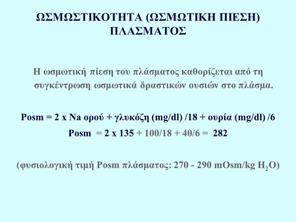 ΩΣΜΩΣΤΙΚΟΤΗΤΑ (ΩΣΜΩΤΙΚΗ ΠΙΕΣΗ) ΠΛΑΣΜΑΤΟΣ Η ωσμωτική πίεση του πλάσματος καθορίζεται από τη συγκέντρωση ωσμωτικά δραστικών ουσιών στο πλάσμα. Posm = 2