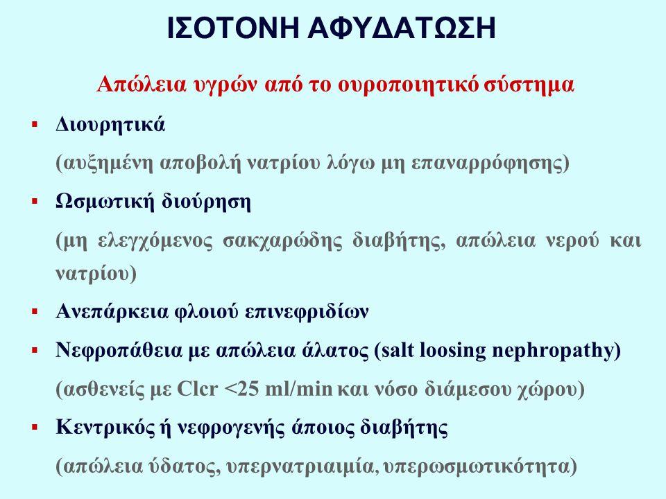 ΙΣΟΤΟΝΗ ΑΦΥΔΑΤΩΣΗ Απώλεια υγρών από το ουροποιητικό σύστημα  Διουρητικά (αυξημένη αποβολή νατρίου λόγω μη επαναρρόφησης)  Ωσμωτική διούρηση (μη ελεγχόμενος σακχαρώδης διαβήτης, απώλεια νερού και νατρίου)  Ανεπάρκεια φλοιού επινεφριδίων  Νεφροπάθεια με απώλεια άλατος (salt loosing nephropathy) (ασθενείς με Clcr <25 ml/min και νόσο διάμεσου χώρου)  Κεντρικός ή νεφρογενής άποιος διαβήτης (απώλεια ύδατος, υπερνατριαιμία, υπερωσμωτικότητα)