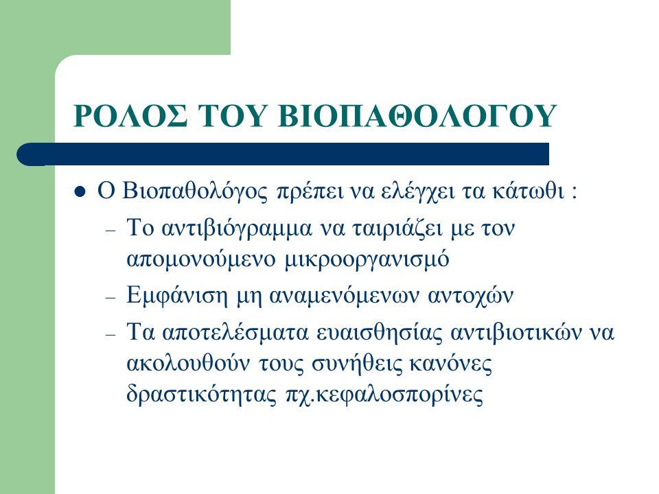 ΡΟΛΟΣ ΤΟΥ ΒΙΟΠΑΘΟΛΟΓΟΥ Ο Βιοπαθολόγος πρέπει να ελέγχει τα κάτωθι : – Το αντιβιόγραμμα να ταιριάζει με τον απομονούμενο μικροοργανισμό – Εμφάνιση μη α