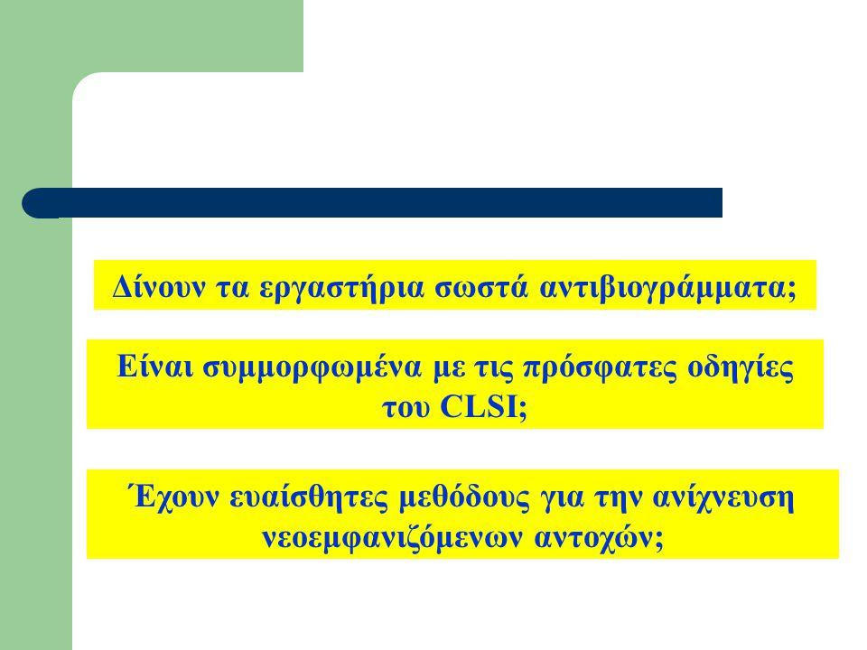 Δίνουν τα εργαστήρια σωστά αντιβιογράμματα; Είναι συμμορφωμένα με τις πρόσφατες οδηγίες του CLSI; Έχουν ευαίσθητες μεθόδους για την ανίχνευση νεοεμφαν