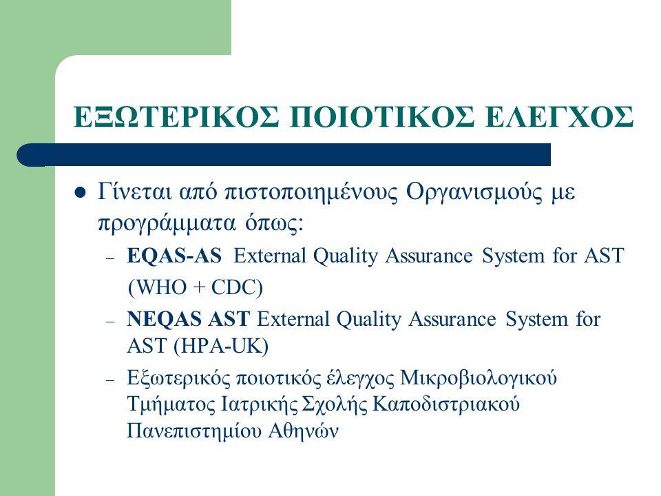 ΕΞΩΤΕΡΙΚΟΣ ΠΟΙΟΤΙΚΟΣ ΕΛΕΓΧΟΣ Γίνεται από πιστοποιημένους Οργανισμούς με προγράμματα όπως: – EQAS-AS External Quality Assurance System for AST (WHO + CDC) – NEQAS AST External Quality Assurance System for AST (HPA-UK) – Εξωτερικός ποιοτικός έλεγχος Μικροβιολογικού Τμήματος Ιατρικής Σχολής Καποδιστριακού Πανεπιστημίου Αθηνών