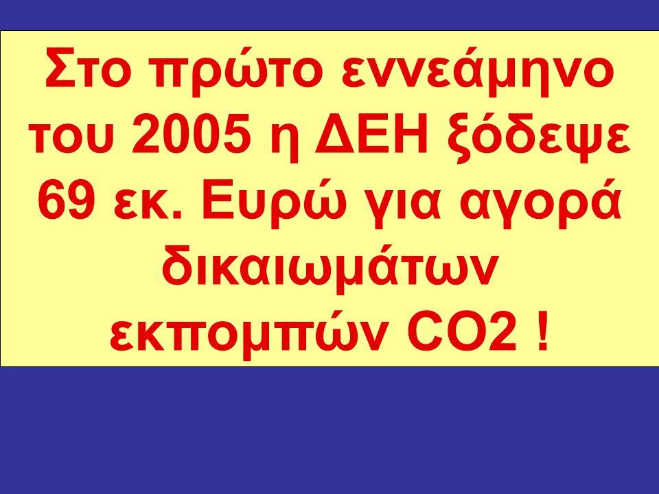 Στο πρώτο εννεάμηνο του 2005 η ΔΕΗ ξόδεψε 69 εκ. Ευρώ για αγορά δικαιωμάτων εκπομπών CO2 !