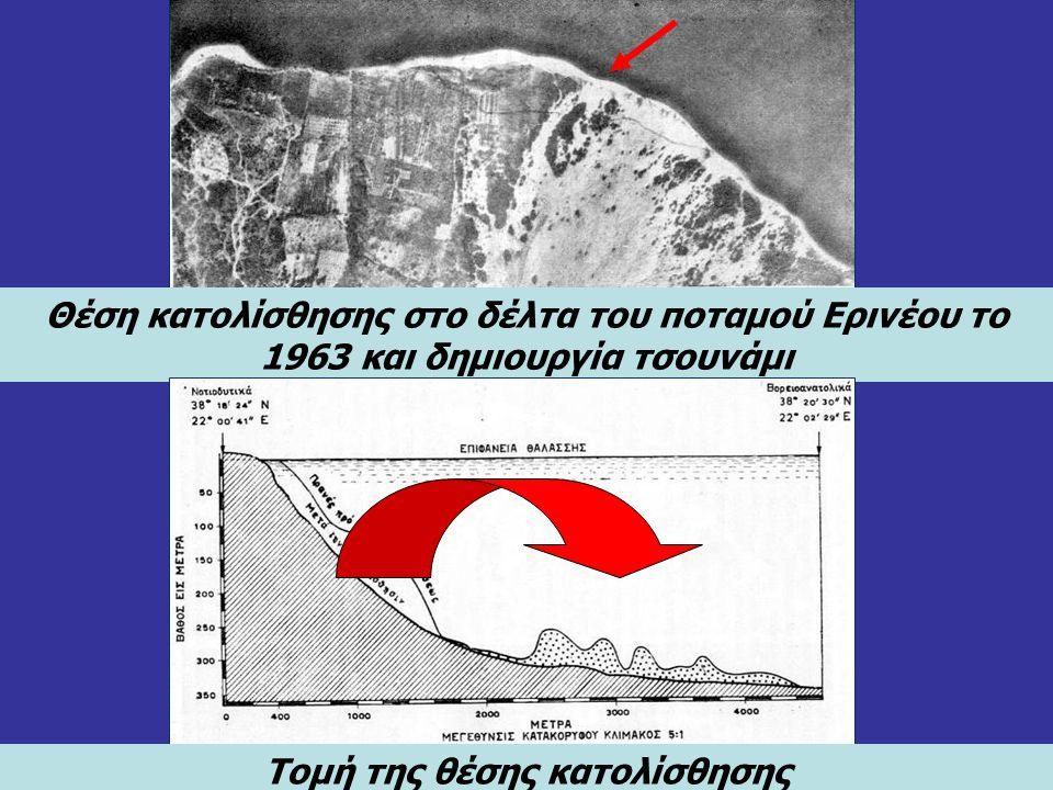 Θέση κατολίσθησης στο δέλτα του ποταμού Ερινέου το 1963 και δημιουργία τσουνάμι Τομή της θέσης κατολίσθησης