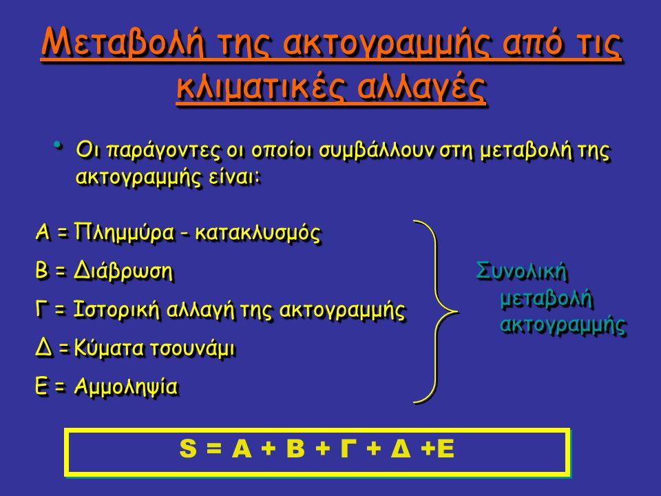 Μεταβολή της ακτογραμμής από τις κλιματικές αλλαγές Οι παράγοντες οι οποίοι συμβάλλουν στη μεταβολή της ακτογραμμής είναι: Οι παράγοντες οι οποίοι συμβάλλουν στη μεταβολή της ακτογραμμής είναι: Πλημμύρα - κατακλυσμός ΔιάβρωσηΔιάβρωση Ιστορική αλλαγή της ακτογραμμής Κύματα τσουνάμι ΑμμοληψίαΑμμοληψία Α = Β = Γ = Δ = Ε = S = Α + Β + Γ + Δ +Ε Συνολική μεταβολή ακτογραμμής