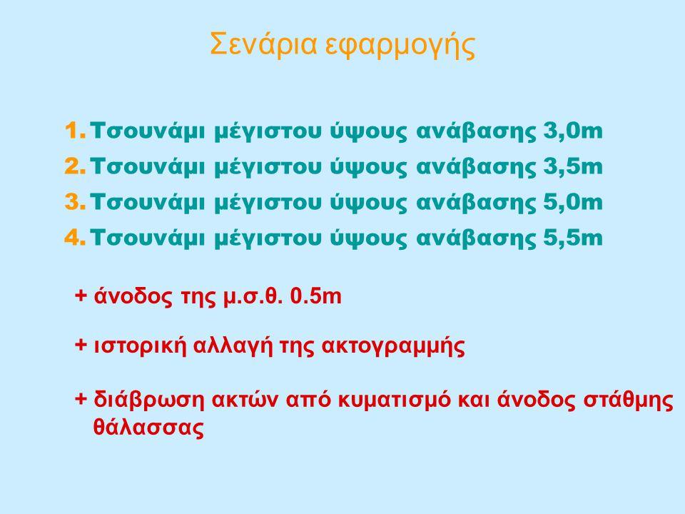 Σενάρια εφαρμογής 1.Τσουνάμι μέγιστου ύψους ανάβασης 3,0m 2.Τσουνάμι μέγιστου ύψους ανάβασης 3,5m 3.Τσουνάμι μέγιστου ύψους ανάβασης 5,0m 4.Τσουνάμι μέγιστου ύψους ανάβασης 5,5m + άνοδος της μ.σ.θ.