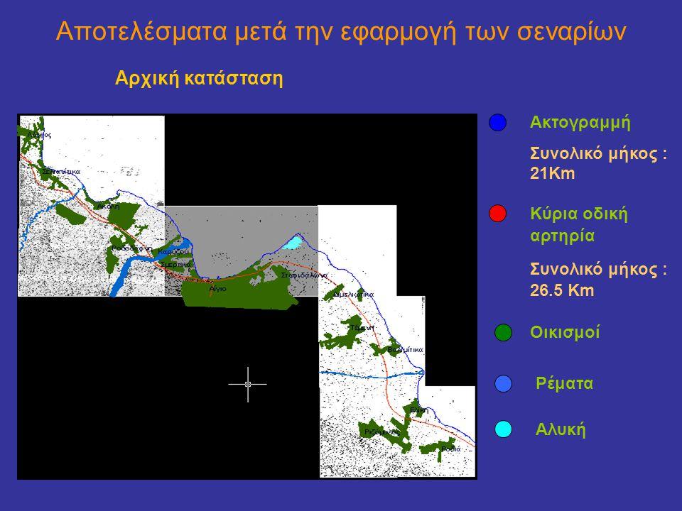 Αποτελέσματα μετά την εφαρμογή των σεναρίων Αρχική κατάσταση Ακτογραμμή Συνολικό μήκος : 21Km Κύρια οδική αρτηρία Συνολικό μήκος : 26.5 Κm Οικισμοί Ρέματα Αλυκή