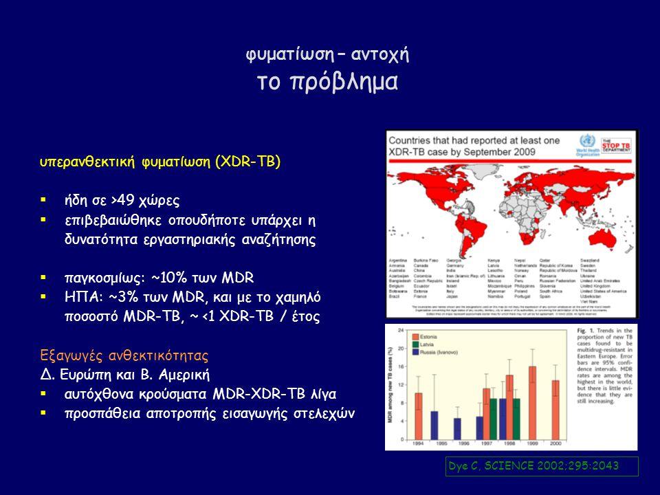 φυματίωση – αντοχή το πρόβλημα υπερανθεκτική φυματίωση (XDR-TB)  ήδη σε >49 χώρες  επιβεβαιώθηκε οπουδήποτε υπάρχει η δυνατότητα εργαστηριακής αναζήτησης  παγκοσμίως: ~10% των MDR  ΗΠΑ: ~3% των MDR, και με το χαμηλό ποσοστό MDR-TB, ~ <1 XDR-TB / έτος Εξαγωγές ανθεκτικότητας Δ.