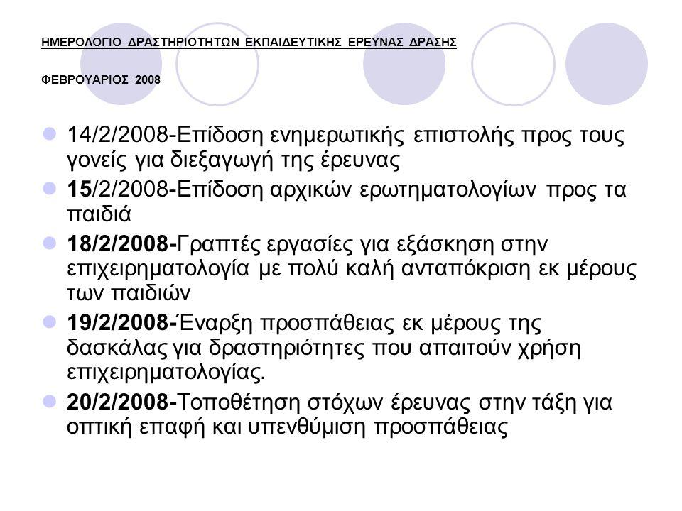 ΗΜΕΡΟΛΟΓΙΟ ΔΡΑΣΤΗΡΙΟΤΗΤΩΝ ΕΚΠΑΙΔΕΥΤΙΚΗΣ ΕΡΕΥΝΑΣ ΔΡΑΣΗΣ ΦΕΒΡΟΥΑΡΙΟΣ 2008 14/2/2008-Επίδοση ενημερωτικής επιστολής προς τους γονείς για διεξαγωγή της έρευνας 15/2/2008-Επίδοση αρχικών ερωτηματολογίων προς τα παιδιά 18/2/2008-Γραπτές εργασίες για εξάσκηση στην επιχειρηματολογία με πολύ καλή ανταπόκριση εκ μέρους των παιδιών 19/2/2008-Έναρξη προσπάθειας εκ μέρους της δασκάλας για δραστηριότητες που απαιτούν χρήση επιχειρηματολογίας.