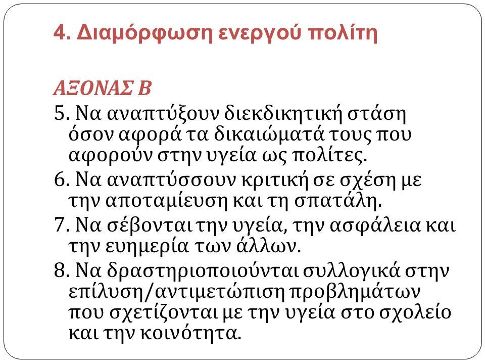 4. Διαμόρφωση ενεργού πολίτη ΑΞΟΝΑΣ Β 5. Να αναπτύξουν διεκδικητική στάση όσον αφορά τα δικαιώματά τους που αφορούν στην υγεία ως πολίτες. 6. Να αναπτ