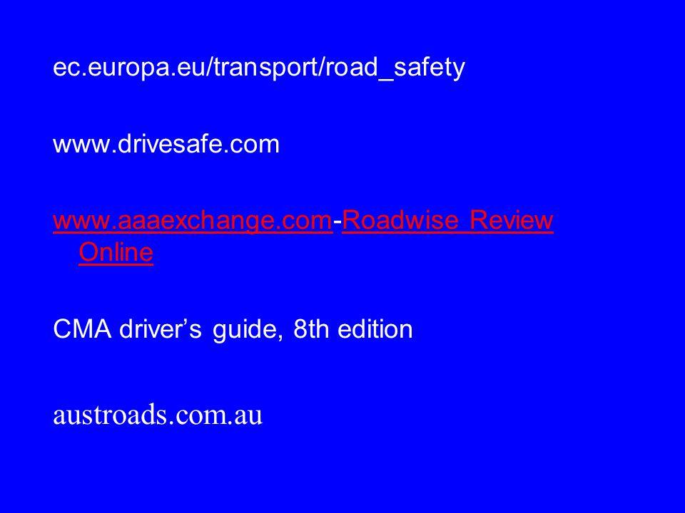 ec.europa.eu/transport/road_safety www.drivesafe.com www.aaaexchange.comwww.aaaexchange.com-Roadwise Review OnlineRoadwise Review Online CMA driver's