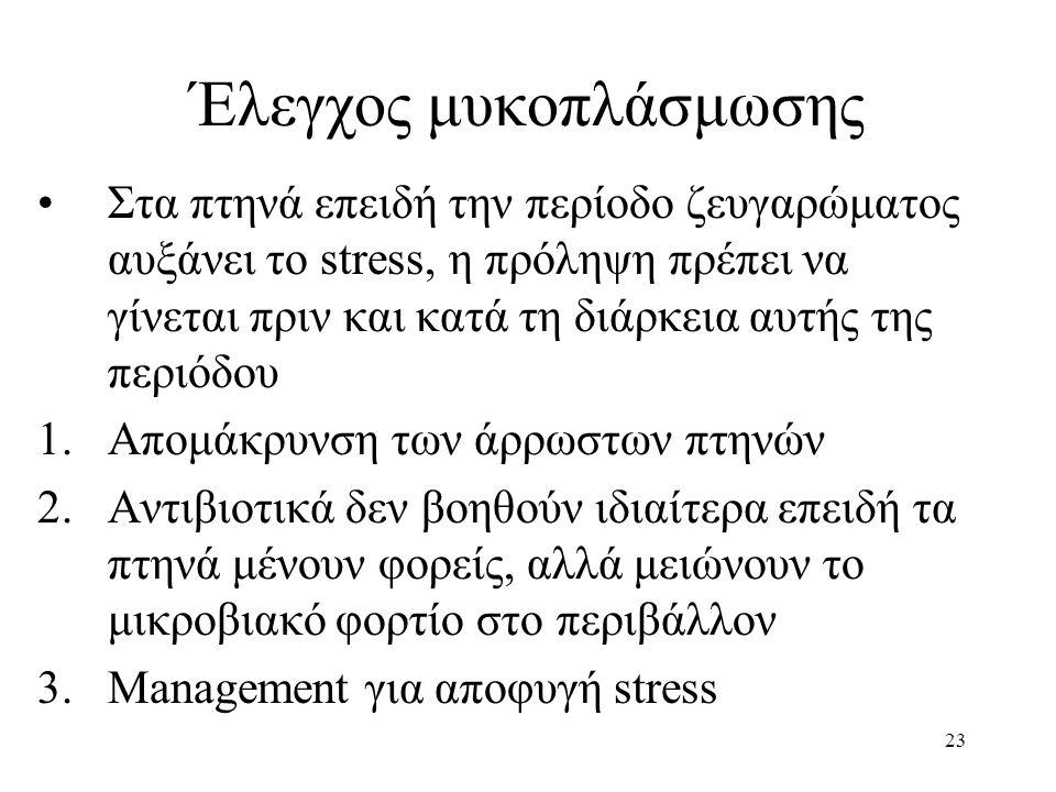 23 Έλεγχος μυκοπλάσμωσης Στα πτηνά επειδή την περίοδο ζευγαρώματος αυξάνει το stress, η πρόληψη πρέπει να γίνεται πριν και κατά τη διάρκεια αυτής της περιόδου 1.Απομάκρυνση των άρρωστων πτηνών 2.Αντιβιοτικά δεν βοηθούν ιδιαίτερα επειδή τα πτηνά μένουν φορείς, αλλά μειώνουν το μικροβιακό φορτίο στο περιβάλλον 3.Management για αποφυγή stress