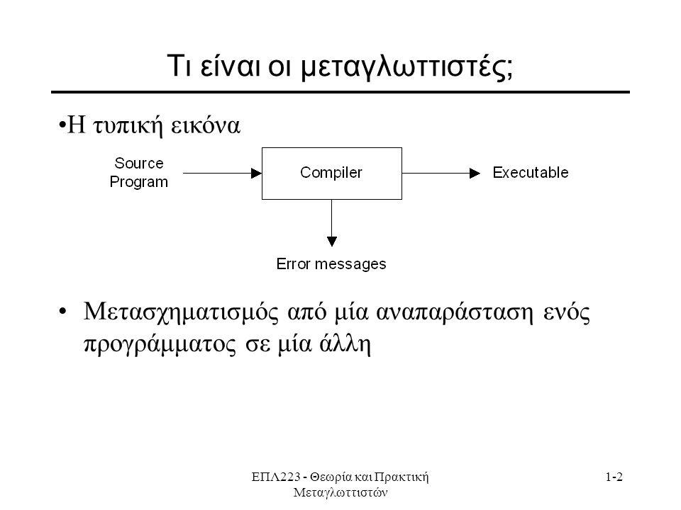 ΕΠΛ223 - Θεωρία και Πρακτική Μεταγλωττιστών 1-2 Τι είναι οι μεταγλωττιστές; Μετασχηματισμός από μία αναπαράσταση ενός προγράμματος σε μία άλλη Η τυπική εικόνα