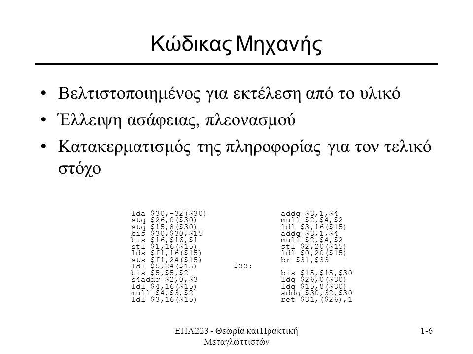ΕΠΛ223 - Θεωρία και Πρακτική Μεταγλωττιστών 1-6 Κώδικας Μηχανής Βελτιστοποιημένος για εκτέλεση από το υλικό Έλλειψη ασάφειας, πλεονασμού Κατακερματισμ