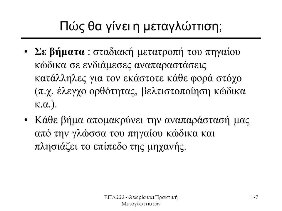 ΕΠΛ223 - Θεωρία και Πρακτική Μεταγλωττιστών 1-7 Πώς θα γίνει η μεταγλώττιση; Σε βήματα : σταδιακή μετατροπή του πηγαίου κώδικα σε ενδιάμεσες αναπαραστ
