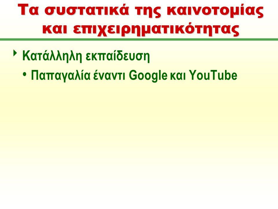 Τα συστατικά της καινοτομίας και επιχειρηματικότητας  Κατάλληλη εκπαίδευση Παπαγαλία έναντι Google και YouTube