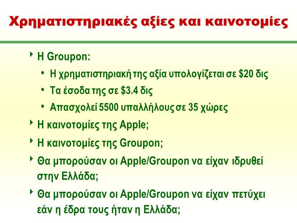 Χρηματιστηριακές αξίες και καινοτομίες  Η Groupon: Η χρηματιστηριακή της αξία υπολογίζεται σε $20 δις Τα έσοδα της σε $3.4 δις Απασχολεί 5500 υπαλλήλους σε 35 χώρες  Η καινοτομίες της Apple;  Η καινοτομίες της Groupon;  Θα μπορούσαν οι Apple/Groupon να είχαν ιδρυθεί στην Ελλάδα;  Θα μπορούσαν οι Apple/Groupon να είχαν πετύχει εάν η έδρα τους ήταν η Ελλάδα;